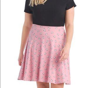 2X 3X pink CAT rockabilly preppy FLARE knit Skirt